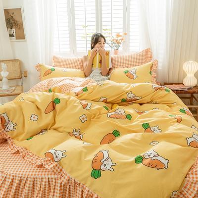 2020新款全棉公主风梦系列&萌宝系列四件套(床裙款) 1.2m床裙款三件套 萌宝黄