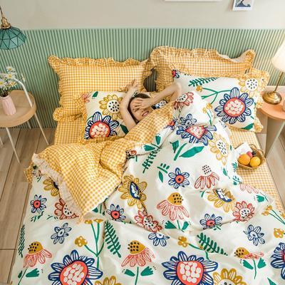 2020新款全棉公主风梦系列&萌宝系列四件套(床裙款) 1.5m床裙款四件套 太阳花