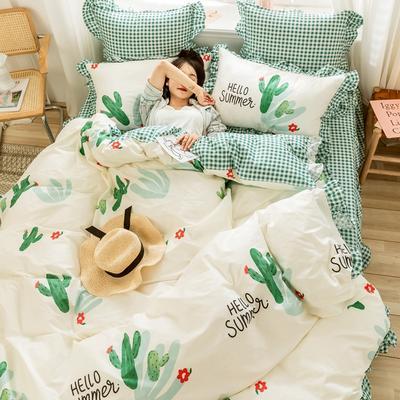 2020新款全棉公主风梦系列&萌宝系列四件套(床裙款) 1.2m床裙款三件套 仙人掌