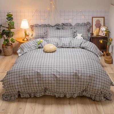 2020新款-全棉公主风璇系列四件套 床单款三件套1.2m(4英尺)床 璇黑