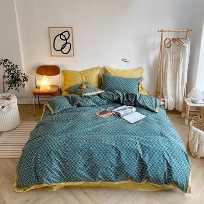 2020新款-全棉轻奢宽边四件套 床单款四件套1.5m(5英尺)床 安格尔-绿