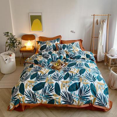 2020新款-全棉轻奢宽边四件套 床单款四件套1.5m(5英尺)床 叶语