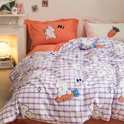 2020新款-全棉刺绣四件套---炫系列 1.2m床单款三件套 兔小贝