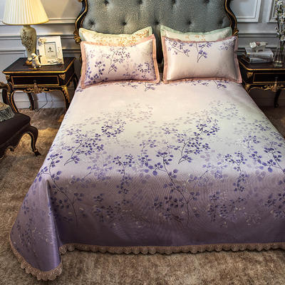 2019新款-欧式床单冰丝席 250*250cm 床单款一叶金秋紫