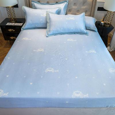 2019新款床笠冰丝席--提花款 1.5m三件套 童话蓝