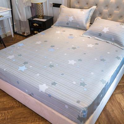 2019新款床笠冰丝席--提花款 1.5m三件套 星晴--蓝灰