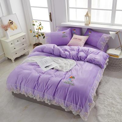 2019新款公主风蕾丝宝宝绒四件套 1.5m-1.8m床单款 魅力紫