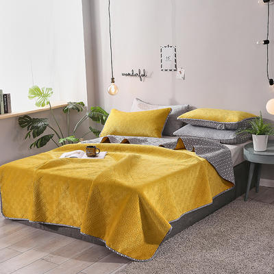 2019新款网红萝莉床盖毯 同款枕套/对 芥末黄