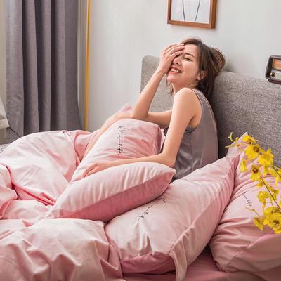 2019新款意大利真丝绒爱妃系列四件套 2.0m床单款 芭比粉