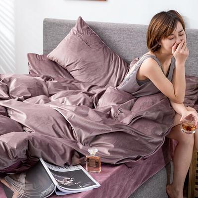 2019新款意大利真丝绒爱妃系列四件套 2.0m床单款 豆沙紫