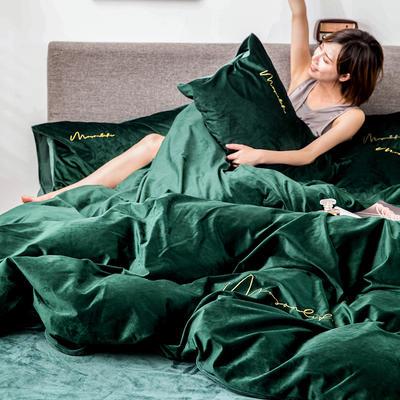 2019新款意大利真丝绒爱妃系列四件套 2.0m床单款 墨绿色