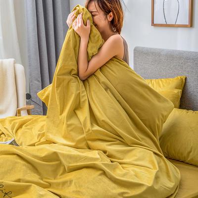 2019新款意大利真丝绒爱妃系列四件套 2.0m床单款 柠檬黄