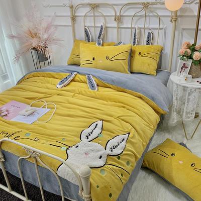 2019新款澳大利亚绵羊绒-喵喵兔实拍图四件套 1.5m床单款 姜黄色