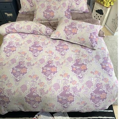 2019新款牛奶绒5D雕花(手机图) 1.5m床单款 华美夜宴-紫