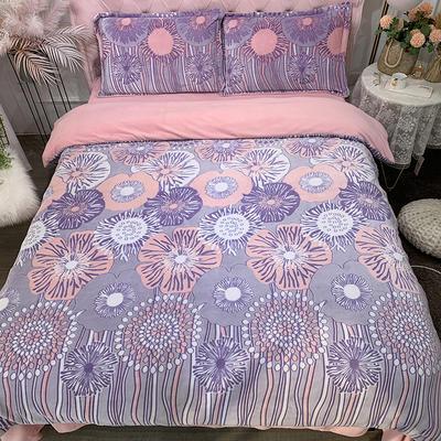 2019新款牛奶绒雕花四件套 1.5m(5英尺)床单款 落英缤纷-紫