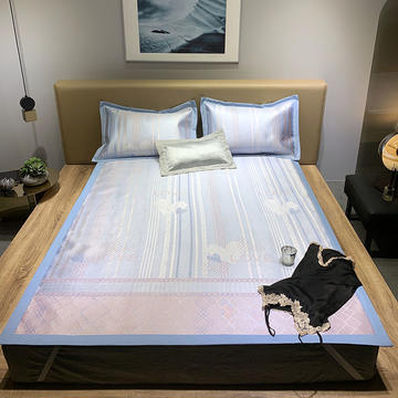 2020新款1200D提花冰丝床席三件套