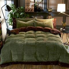 时尚纽扣刺绣宝宝绒四件套 1.5m(5英尺)床 军绿