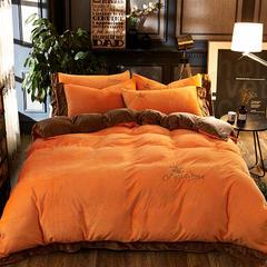 时尚纽扣刺绣宝宝绒四件套 1.8m(6英尺)床 阳光橙