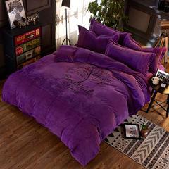 时尚印花宝宝绒四件套(巴黎春天) 1.5m(5英尺)床 巴黎春天-紫