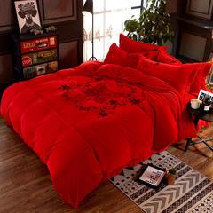 时尚印花宝宝绒四件套(翩翩舞姿) 1.5m(5英尺)床 翩翩舞姿-大红