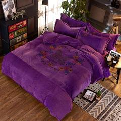 时尚印花宝宝绒四件套(翩翩舞姿) 1.5m(5英尺)床 翩翩舞姿-紫