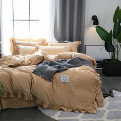 2018新款-韩版双拼-宝宝绒四件套 床笠款2.0m(6.6英尺)床 卡其