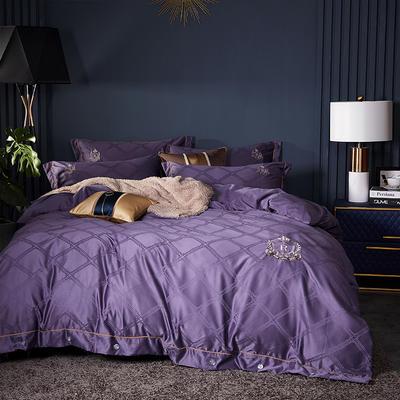 2019新款-水洗真丝四件套-宝格 1.8m(6英尺)床 宝格-靓紫