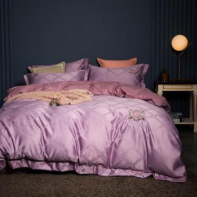 2019新款-水洗真丝四件套-宝格 1.8m(6英尺)床 宝格-浅紫