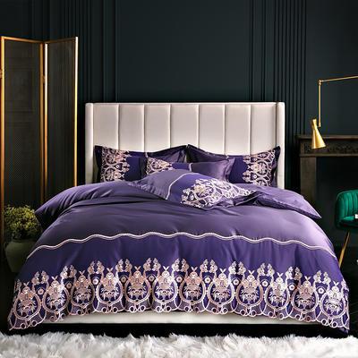 2019新款-水洗真丝四件套-莫妮卡 1.8m(6英尺)床 莫妮卡-靓紫