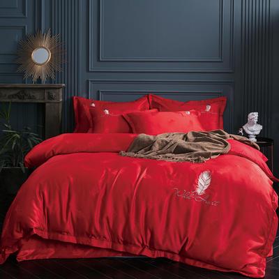 2019新款-艾羽丝真丝系列四件套单面 床单款四件套1.8m(6英尺)床 艾羽丝-大红