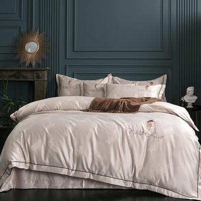2019新款-艾羽丝真丝系列四件套单面 床单款四件套1.8m(6英尺)床 艾羽丝-卡其