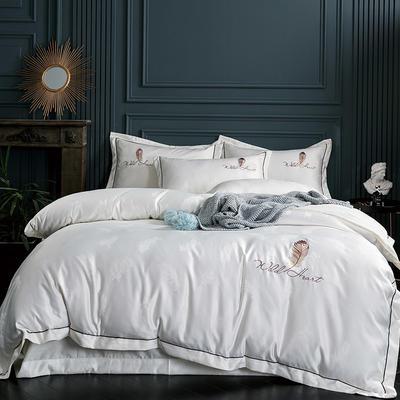 2019新款-艾羽丝真丝系列四件套单面 床单款四件套1.8m(6英尺)床 艾羽丝-米白