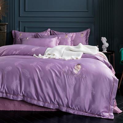 2019新款-艾羽丝真丝系列四件套单面 床单款四件套1.8m(6英尺)床 艾羽丝-浅紫