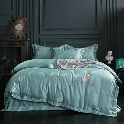 2019新款-艾羽丝真丝系列四件套单面 床单款四件套1.8m(6英尺)床 艾羽丝-水绿