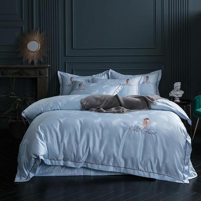 2019新款-艾羽丝真丝系列四件套单面 床单款四件套1.8m(6英尺)床 艾羽丝-天蓝