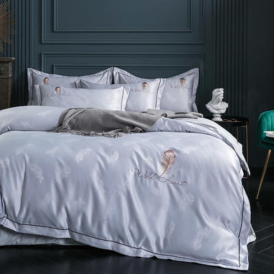 2019新款-艾羽丝真丝系列四件套单面 床单款四件套1.8m(6英尺)床 艾羽丝-银灰
