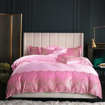 2019新款-莫妮卡真丝系列四件套单面 床单款四件套1.8m(6英尺)床 莫妮卡-粉