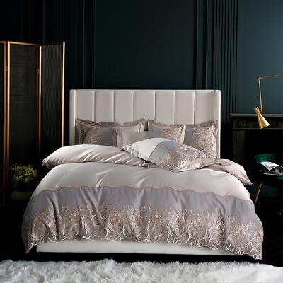 2019新款-莫妮卡真丝系列四件套单面 床单款四件套1.8m(6英尺)床 莫妮卡-卡其