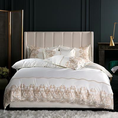 2019新款-莫妮卡真丝系列四件套单面 床单款四件套1.8m(6英尺)床 莫妮卡-米白
