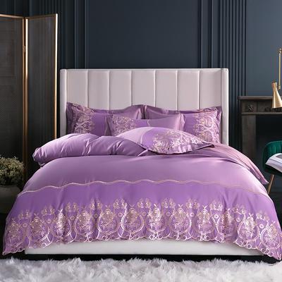 2019新款-莫妮卡真丝系列四件套单面 床单款四件套1.8m(6英尺)床 莫妮卡-浅紫
