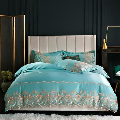 2019新款-莫妮卡真丝系列四件套单面 床单款四件套1.8m(6英尺)床 莫妮卡-水绿