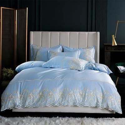 2019新款-莫妮卡真丝系列四件套单面 床单款四件套1.8m(6英尺)床 莫妮卡-天蓝