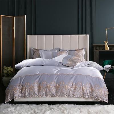 2019新款-莫妮卡真丝系列四件套单面 床单款四件套1.8m(6英尺)床 莫妮卡-银灰