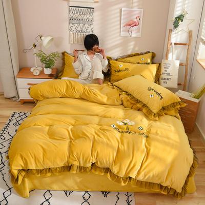 2019新款-水晶绒四件套小菊花 床单款1.8m(6英尺)床 姜黄