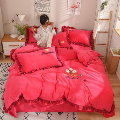 2019新款-水晶绒四件套小菊花 床单款1.8m(6英尺)床 玫红