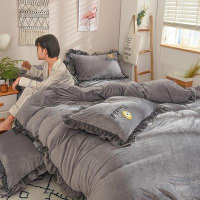 2019新款-水晶绒四件套小菊花 床单款1.8m(6英尺)床 浅灰