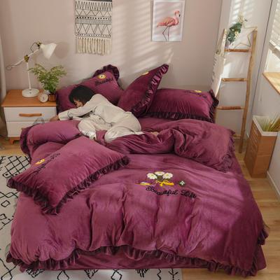 2019新款-水晶绒四件套小菊花 床单款1.8m(6英尺)床 深紫