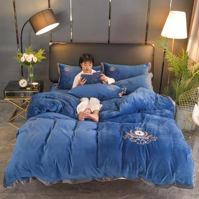 2019新款-水晶绒四件套小蜜蜂 床单款1.8m(6英尺)床 宝蓝