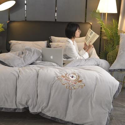 2019新款-水晶绒四件套小蜜蜂 床单款1.8m(6英尺)床 低调灰