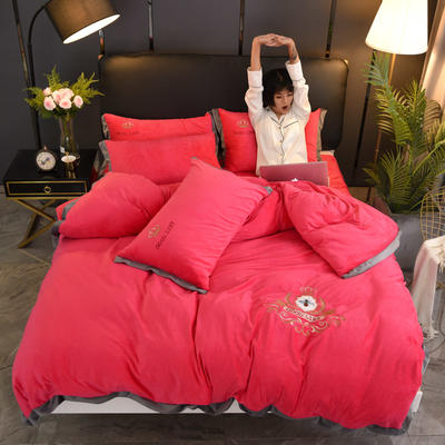 2019新款-水晶绒四件套小蜜蜂 床单款1.8m(6英尺)床 胭脂红